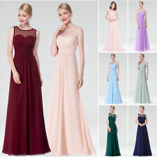 long chiffon lace bridesmaid party evening formal dress prom gown ball size 8-20