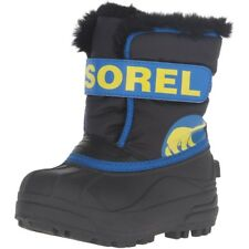 Sorel Childrens Snow Commander Negro/Super Blue Sintético Niño Nieve Botas