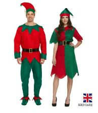 ADULT ELF COSTUME Ladies & Mens Couples Fancy Dress Santa Helper Lot Outfits UK