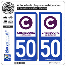 2 Autocollants plaque immatriculation : 50 Cherbourg en Cotentin - Ville