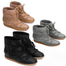 WOMENS LADIES CONCEALED WEDGE HEEL HI TOP SNEAKERS ANKLE BOOTS SHOES SIZE 3-8