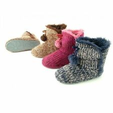 Ladies Chunky Marle Knit Faux Fur Lined Pom Pom Slipper Boots - 6 Sizes From 3-7