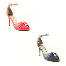 WOMENS LADIES ANKLE STRAP PEEP TOE HIGH HEEL COURT SHOES SANDALS SIZE 3-7
