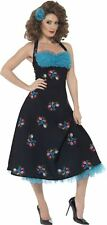 WOMENS GREASE CHA CHA DIGREGORIO COSTUME 1950's FLOWERY FANCY DRESS