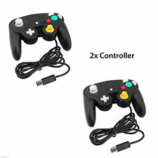 NINTENDO GAMECUBE CONTROLLER 2X BLACK WIRED CLASSIC JOYPAD GAMEPAD FOR GC & Wii