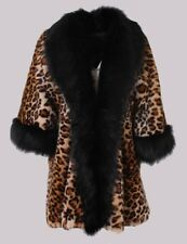 Womens Ladies Luxury Leopard Print Faux Fur Jacket Thick Coat Winter Overcoats
