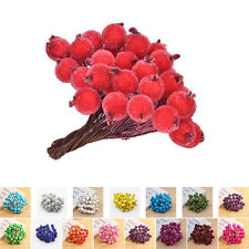 40x Mini Christmas Frosted Fruit Artificial Berry Table Centerpiece LD