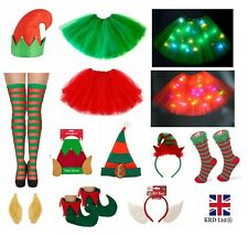 Adult CHRISTMAS ELF COSTUME ACCESSORY Secret Santa Shoes Bells Fancy Dress Party