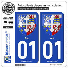 2 Stickers autocollant plaque immatriculation : 01 Ain - Armoiries