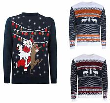 UK Mens Christmas Jumper Xmas Reindeer Santa Unisex Funny Knitted Novelty Top