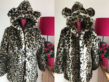 Ladies Girls Faux Fur Leopard Print Hooded Coat Mid Long with Bear Ear Size8/10