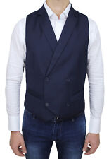 WAISTCOAT VEST MAN V TRADE SARTORIALE DARK BLUE WINTER DOUBLE-BREASTED IN WOOL