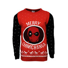 Marvel Official Deadpool Merry Chimichanga Christmas Xmas Jumper/Sweater