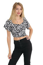 New Womens Ladies Short Sleeve Floral Print Crop Top Casual Vest Blouse T Shirt