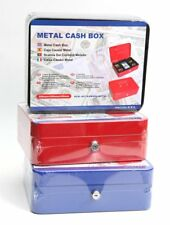 New Petty Cash Money Box Metal Safe Bank Deposit Security Keys Tray