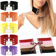 Choker Women Necklace Velvet Lace Up Chain Tattoo Bracelet Gothic Punk Collar UK