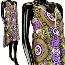 PSYCHEDELIC PRINT DRESS ASYMMETRIC HEM & LACE TRIM PURPLE & GREEN