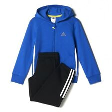 adidas boys blue / black hooded zip up tracksuit. Jogging suit. Ages 3-10 years.