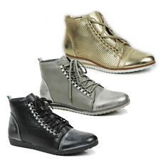 WOMENS LADIES WEDGE HEEL HI TOP LACE UP SNEAKERS TRAINERS BOOTS SHOES SIZE 3-8