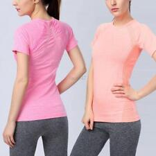 Summer Womens Ladies Sports Breathable Fitness Yoga Tops Workout Nylon T-Shirts