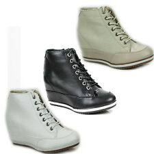 WOMENS LADIES HI TOP WEDGE HEEL LACE UP SNEAKERS TRAINERS BOOTS  SHOES SIZE 3-7