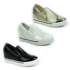 WOMENS LADIES PLATFORM CONCEALED WEDGE HEEL SKATER PUMPS TRAINERS SHOES SIZE 3-8