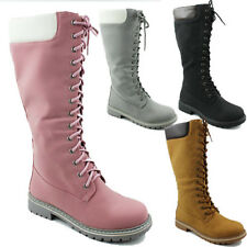WOMENS LACE UP ARMY KNEE HIGH MILITARY COMBAT BIKER MID CALF BOOTS SIZE 3-8
