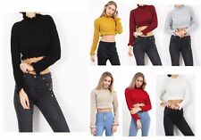 UK Womens Ladies Knitted Cropped Jumper Ruffle Frill Hem Long Sleeve Top