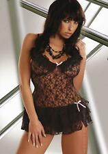 Livia Corsetti CHRISTELLE Flowery Lace chemise and G-String - Black