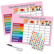 BEHAVIOUR REWARD TRAINING REWARD CHART x2 WITH PEN & STAR STICKERS - Twin Pink