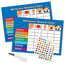 BEHAVIOUR REWARD TRAINING REWARD CHART WITH PEN & STAR STICKERS - Blue/Blue