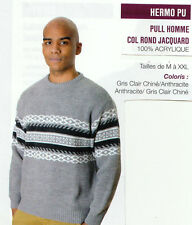 PULL HOMME COL ROND JACQUARD  MANCHES LONGUES MARQUE : OAKS VALLEY