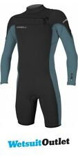 2017 O'Neill Hammer 2mm Chest Zip Long Sleeve Shorty BLACK / DUSTY BLUE 4928