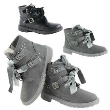 WOMENS LADIES ARMY RIBBON BUCKLE LACE UP COMBAT BIKER MILITARY ANKLE BOOTS 3-8