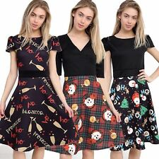 Womens Ladies Novelty Christmas Xmas Prosecco Ho Ho Ho Skater Flared Mini Dress