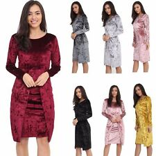 Women's Cocktail Party Bodycon Lady Crushed Velvet Long Sleeve Midi Romper Dress