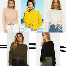 Suéter Mujer Casual Con cinta Manga larga cuello barco Otoño  Knitted Pullover