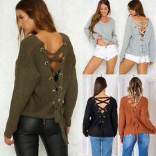 UK Womens Winter Loose Knitted Batwing Sleeve Jumper Sweater Casual Lace UP Tops