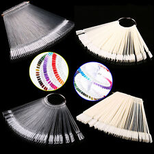 50 Clear Fals Nail Art Tips Colour Pop Sticks Display Fan Practice Starter RiW3