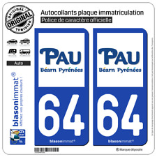 2 Stickers autocollant plaque immatriculation : 64 Pau - Agglo