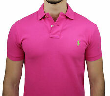 POLO UOMO RALPH LAUREN ROSA CUSTOM FIT MAGLIA CASUAL SHIRT PINK 4015018