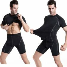 New Men Male Sports Quick Dry Tight Short Sleeves Shirt Fitness Compession Shirt