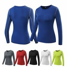 Women Lady Long Sleeve Quick Dry Base Layer Tight Tops Shirt Basketball Workout