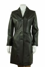 Ladies Black Long Trench Leather Fitted Long Biker Fashion 4 Button Coat Jacket