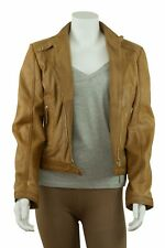 Ladies Tan Leather Slim Tight Fitted Short Biker Fashion Zip Classic Jacket