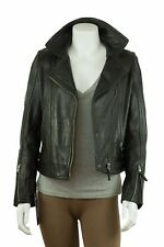 Ladies Black Napa Slim Tight Fitted Short Biker Leather Jacket Bike Rock Fashion