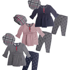Baby Girls Pink 3 Piece Set Hat Top Cardigan and Bottoms Months