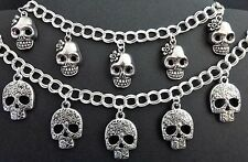 WOMENS HANDMADE GOTHIC EMO SILVER COLOURED CHAIN BRACELET WITH SILVER SKULLS