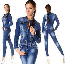 Sexy New Womens Blue Wash Denim Jeans Corset Jumpsuit Overall S 697