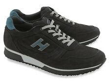 Hogan men's low top lace up fashion trainers shoes in black suede